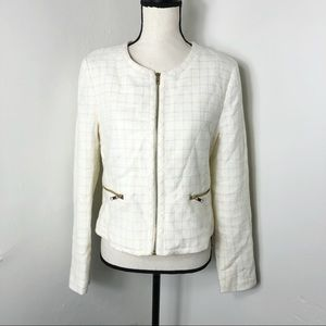 Forever 21 Cream Gold Grid Zip Up Jacket L